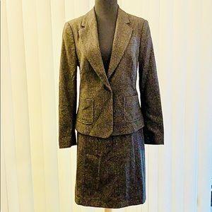 Vintage Stile Benetton Brown Tweed Skirt & Blazer